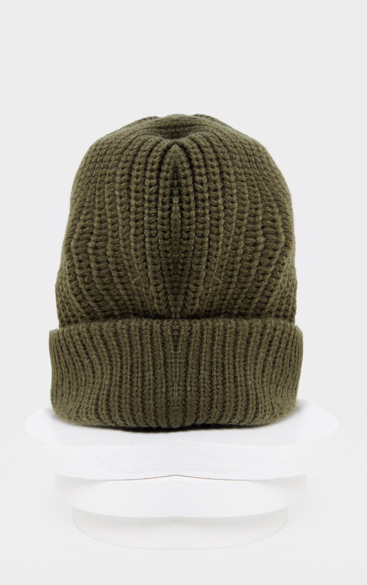Khaki Basic Rib Beanie Hat 2