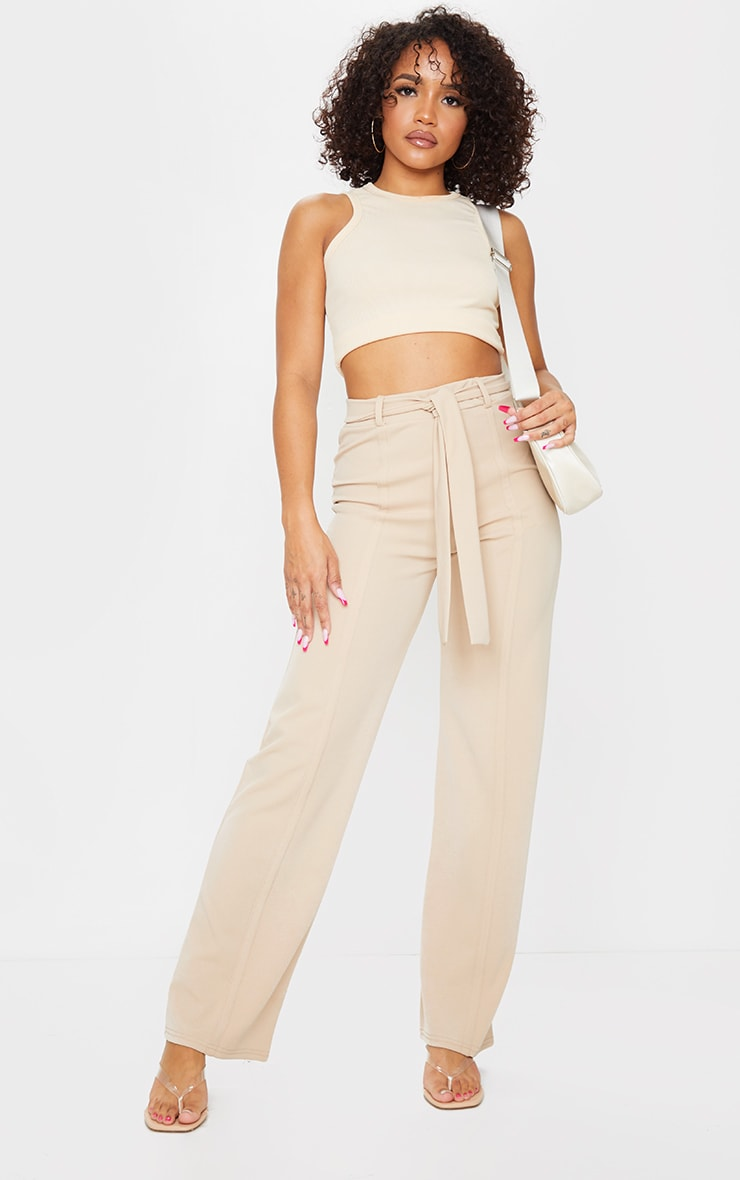 Stone Seam Front Belted Wide Leg Pants  1