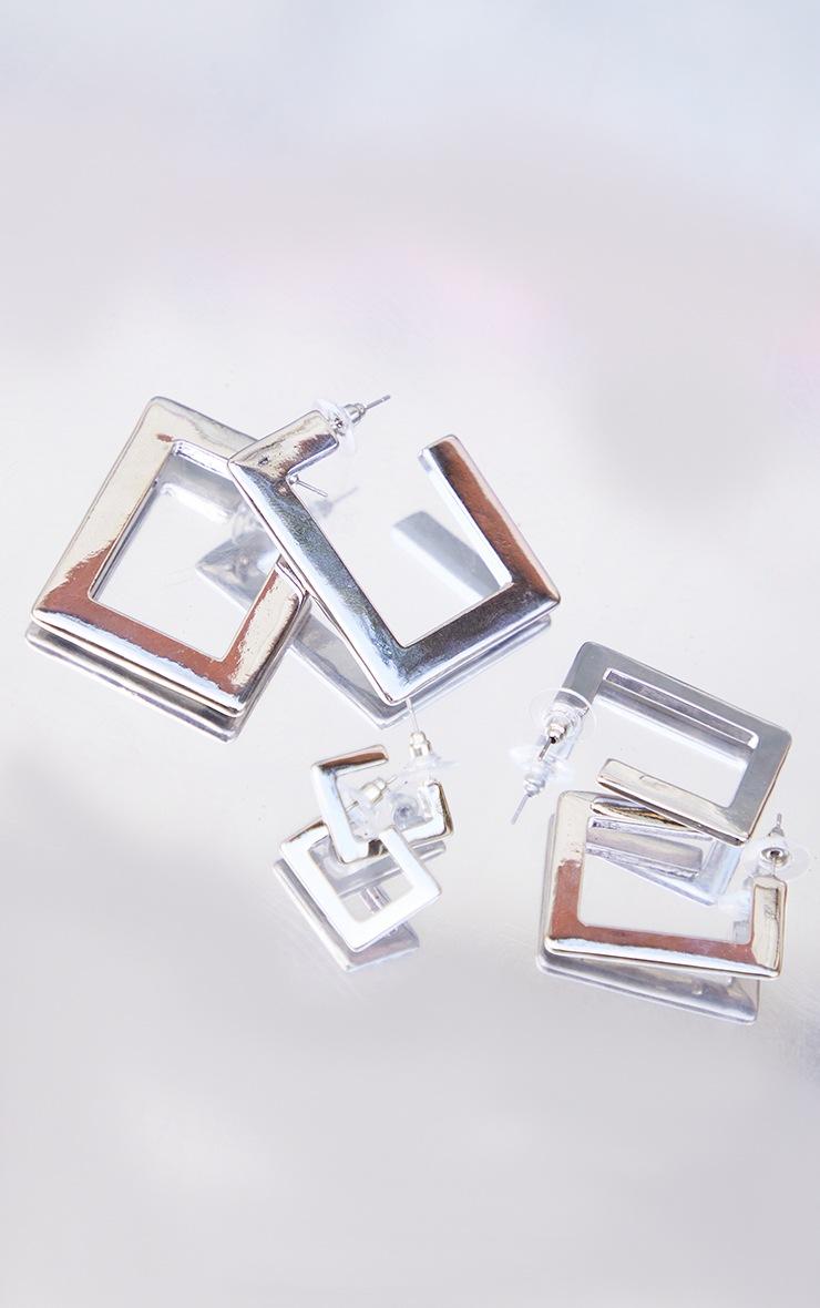 Silver 3 Pack Square Hoop Earrings 2