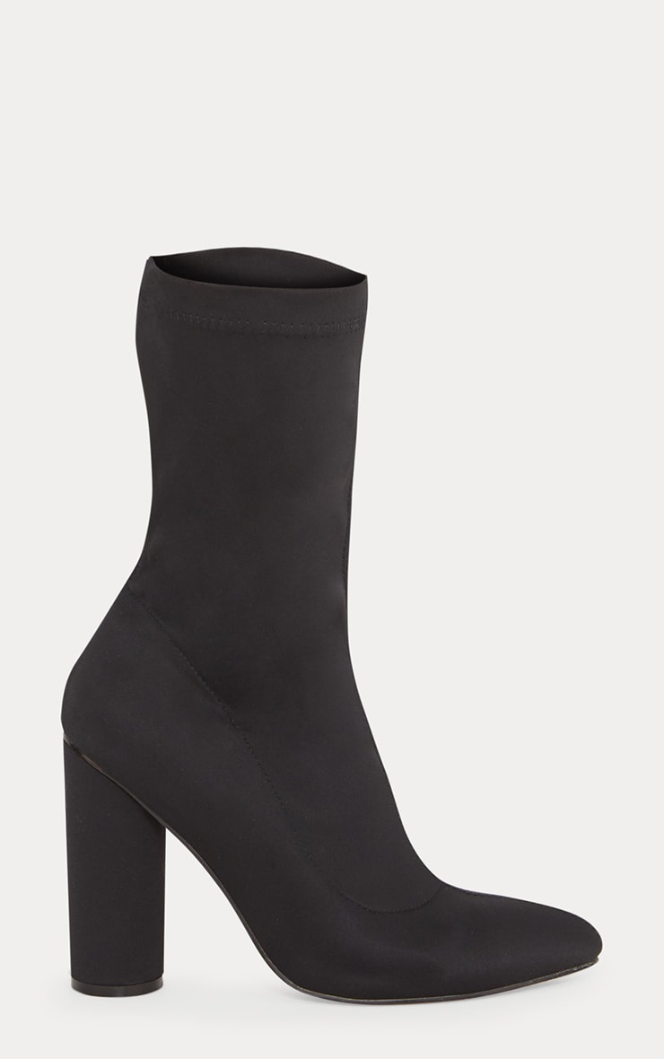 Black Block Heel Sock Boot 3