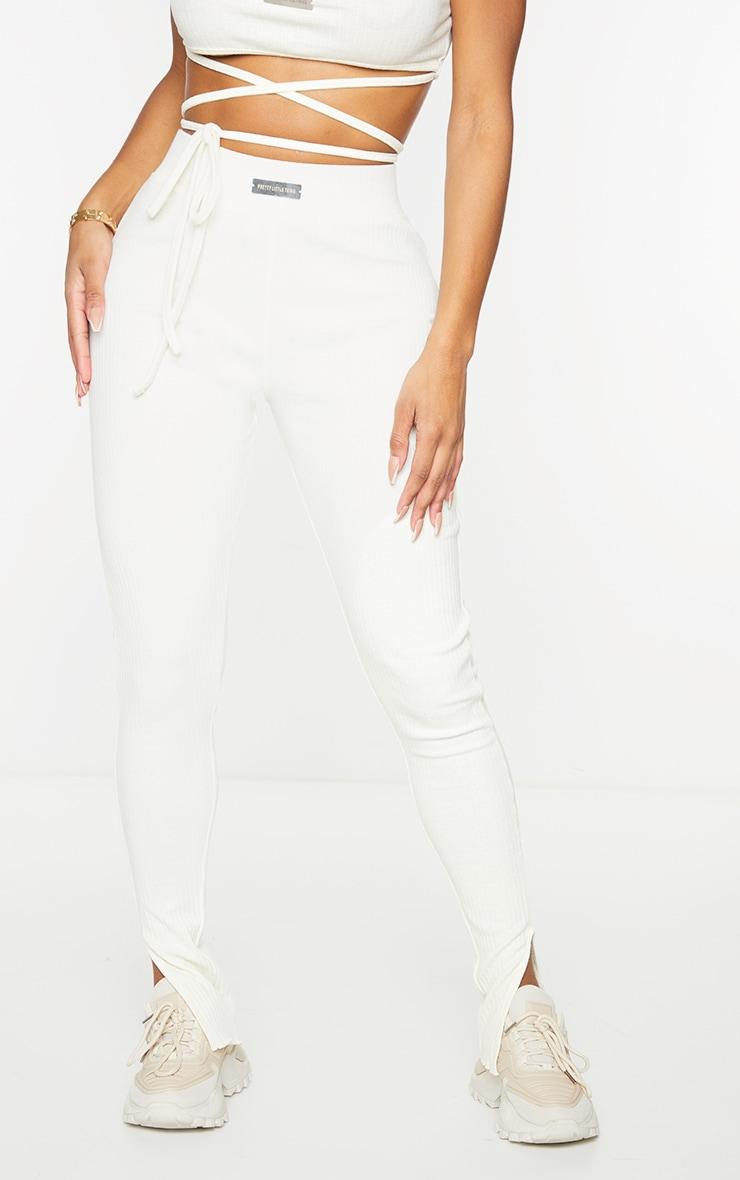 PRETTYLITTLETHING Shape Cream Rib Badge Detail Ruched Bum Leggings 2