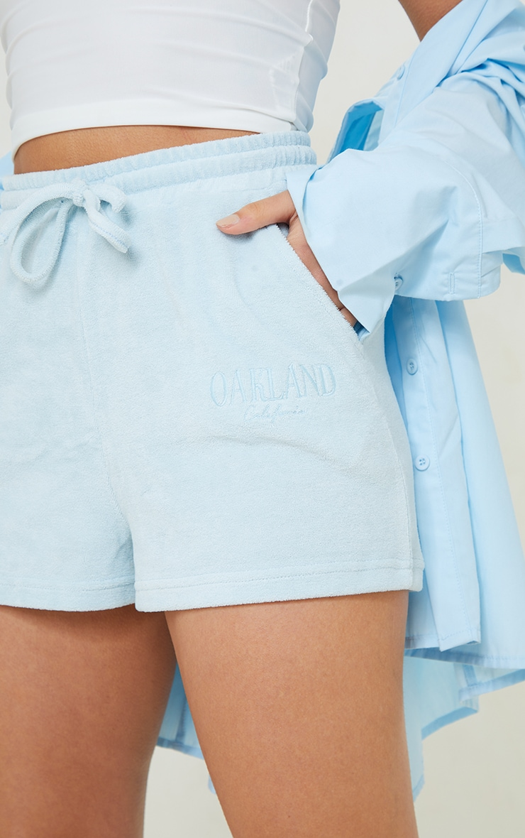 Petite Blue Velour Oakland Shorts 5