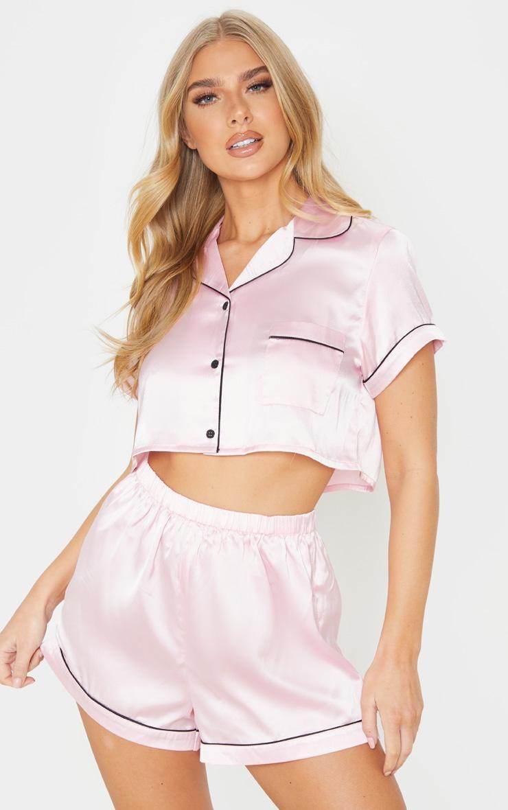 Baby Pink Cropped Satin PJ Shorts Set 1