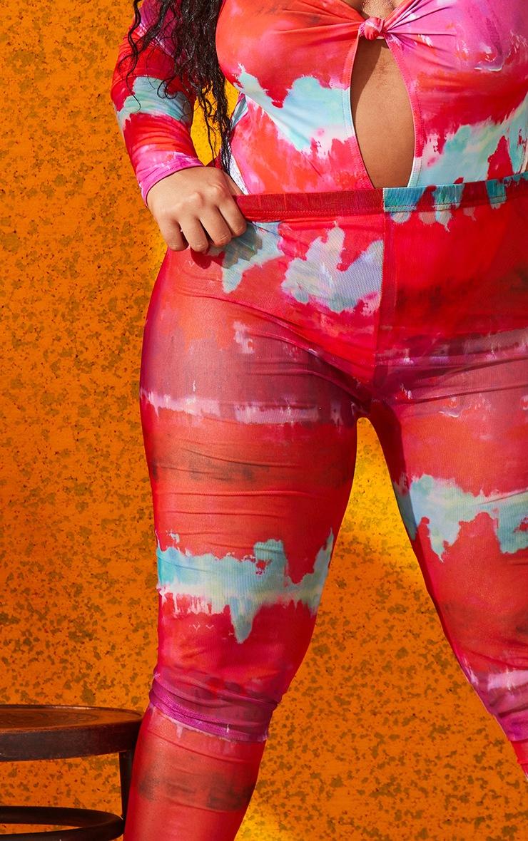Plus Multi Printed Mesh Leggings 4