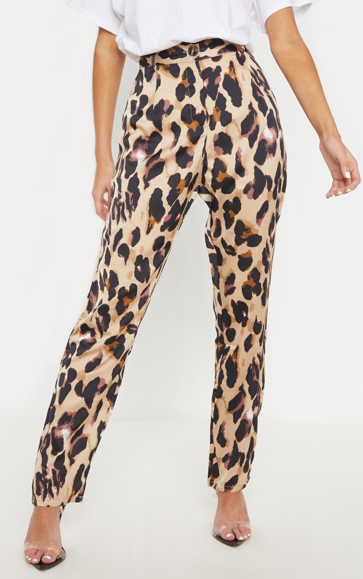 Leopard Print Satin Feel Printed Slim Leg Trouser 2