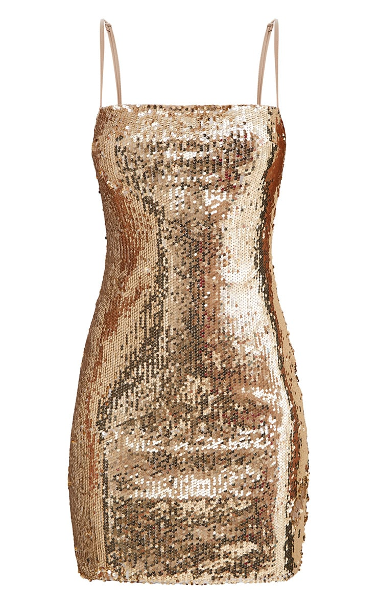 Gold Square Neck Sequin Bodycon Dress 3
