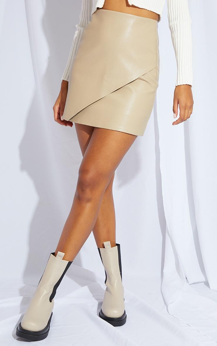 Stone Faux Leather Wrap Mini Skirt 2
