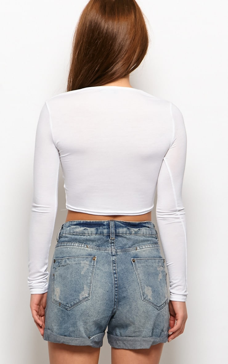 Tansy High Waisted Ripped Denim Shorts 2