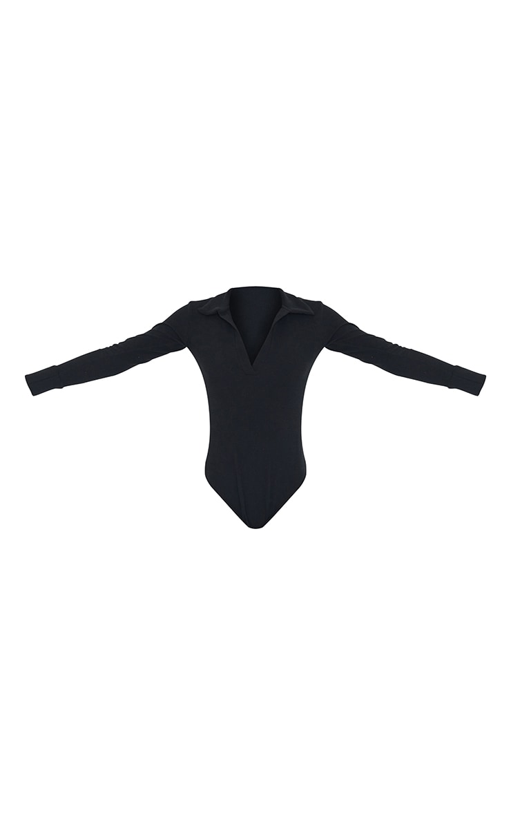 Tall Black Waffle Rib Long Sleeve Polo Bodysuit 5