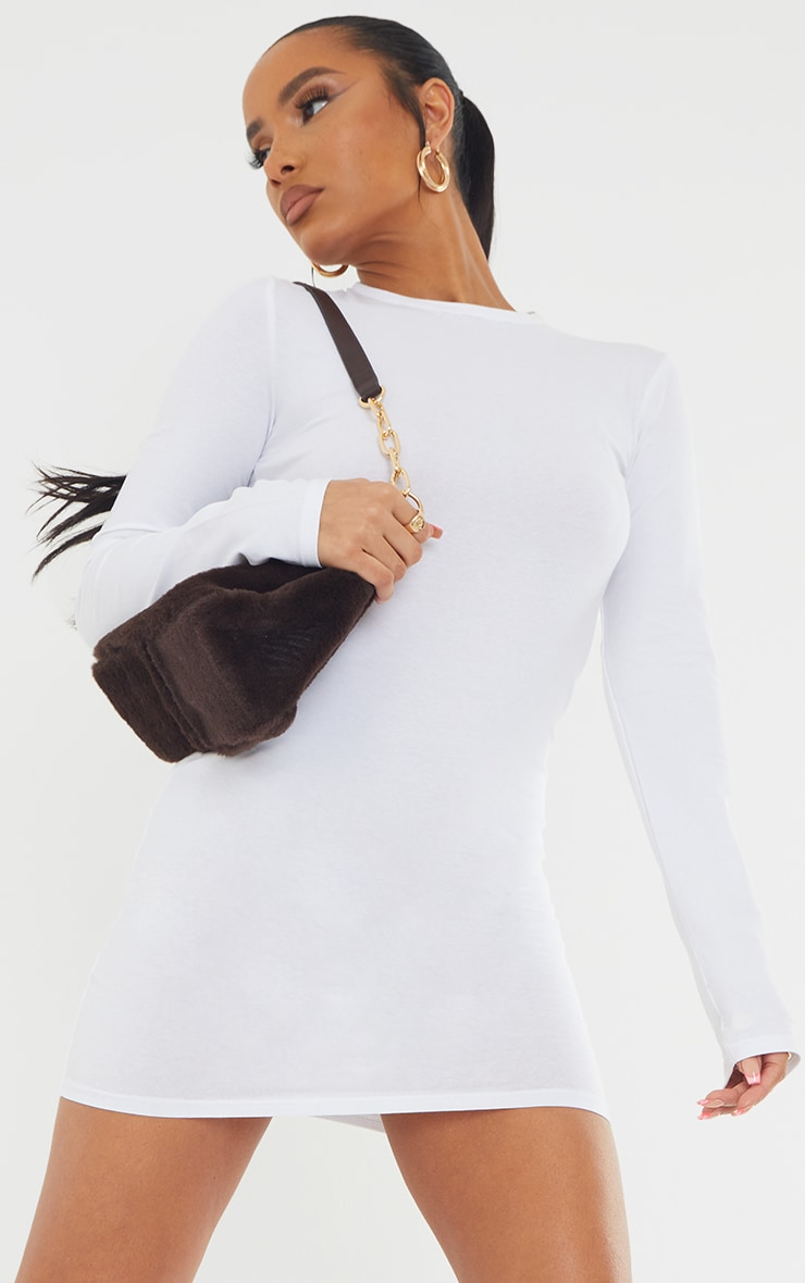 Basic White Cotton Blend Long Sleeve Thumb Hole Bodycon Dress 4