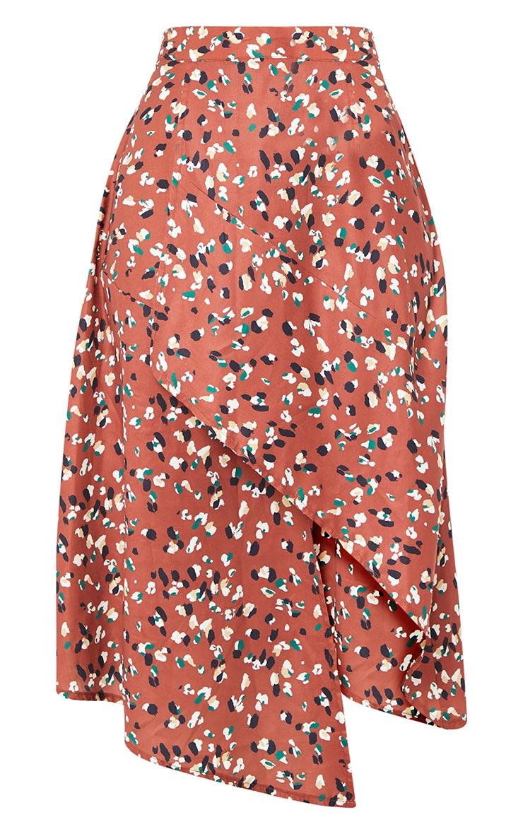 Tan Asymmetric Leopard Print Wrap Midi Skirt 5