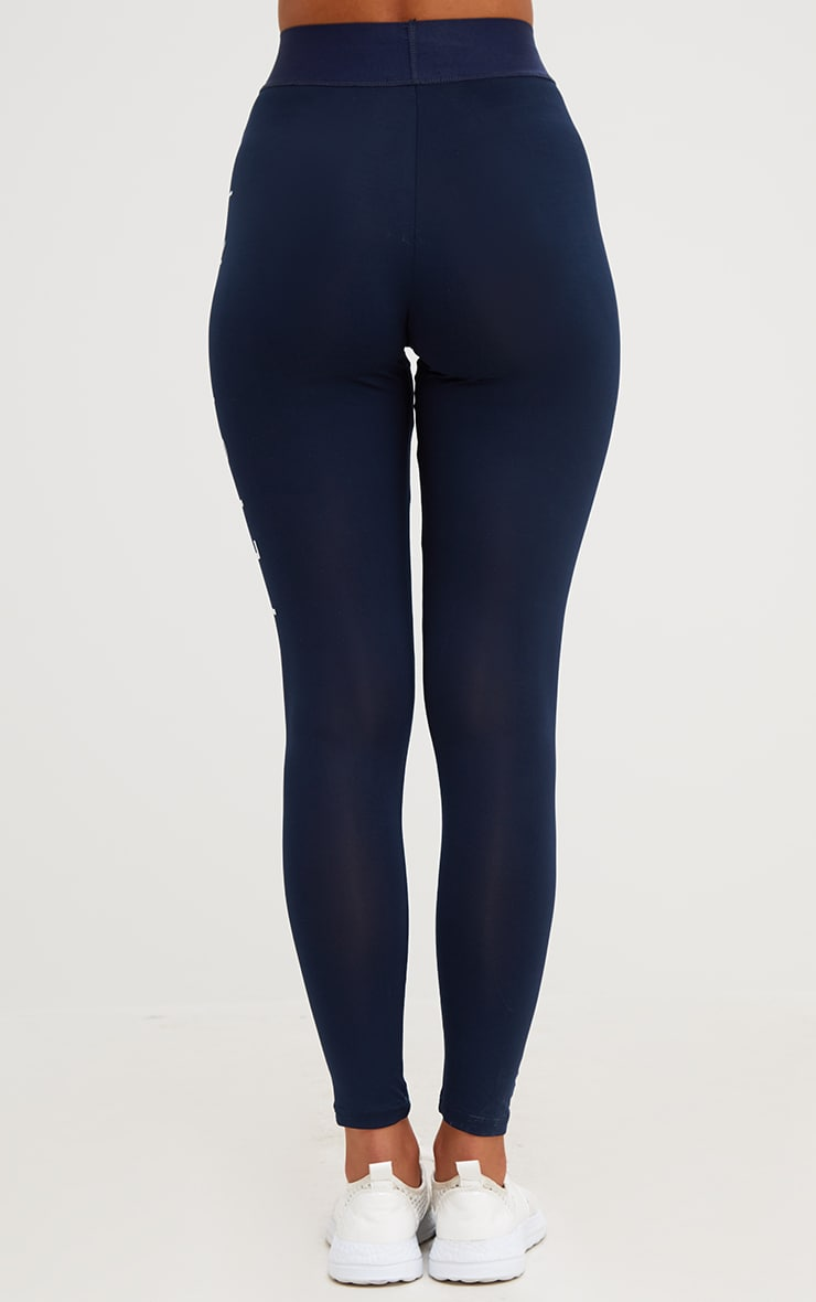 PRETTYLITTLETHING Navy Contrast Gym Leggings 4