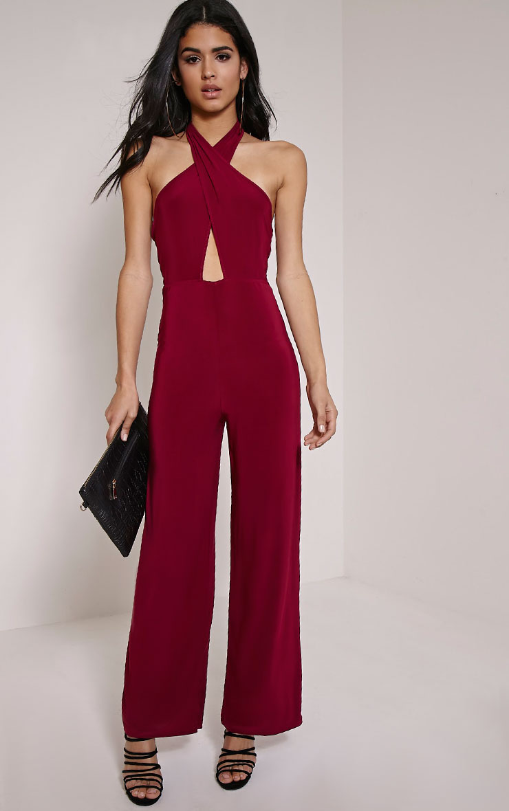 Lalita Wine Slinky Cross Front Jumpsuit 1