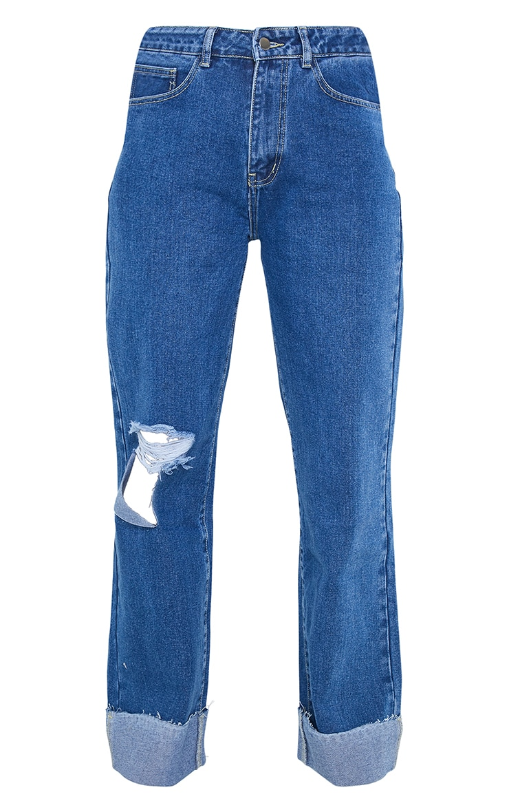 Mid Wash Open Knee Turnup Baggy Boyfriend Jeans 5