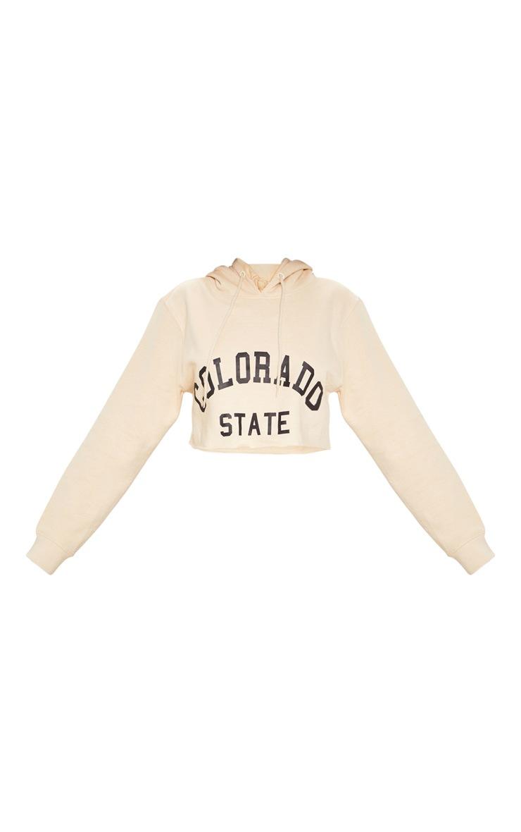 Sand Slogan Colorado Crop Hoodie 3