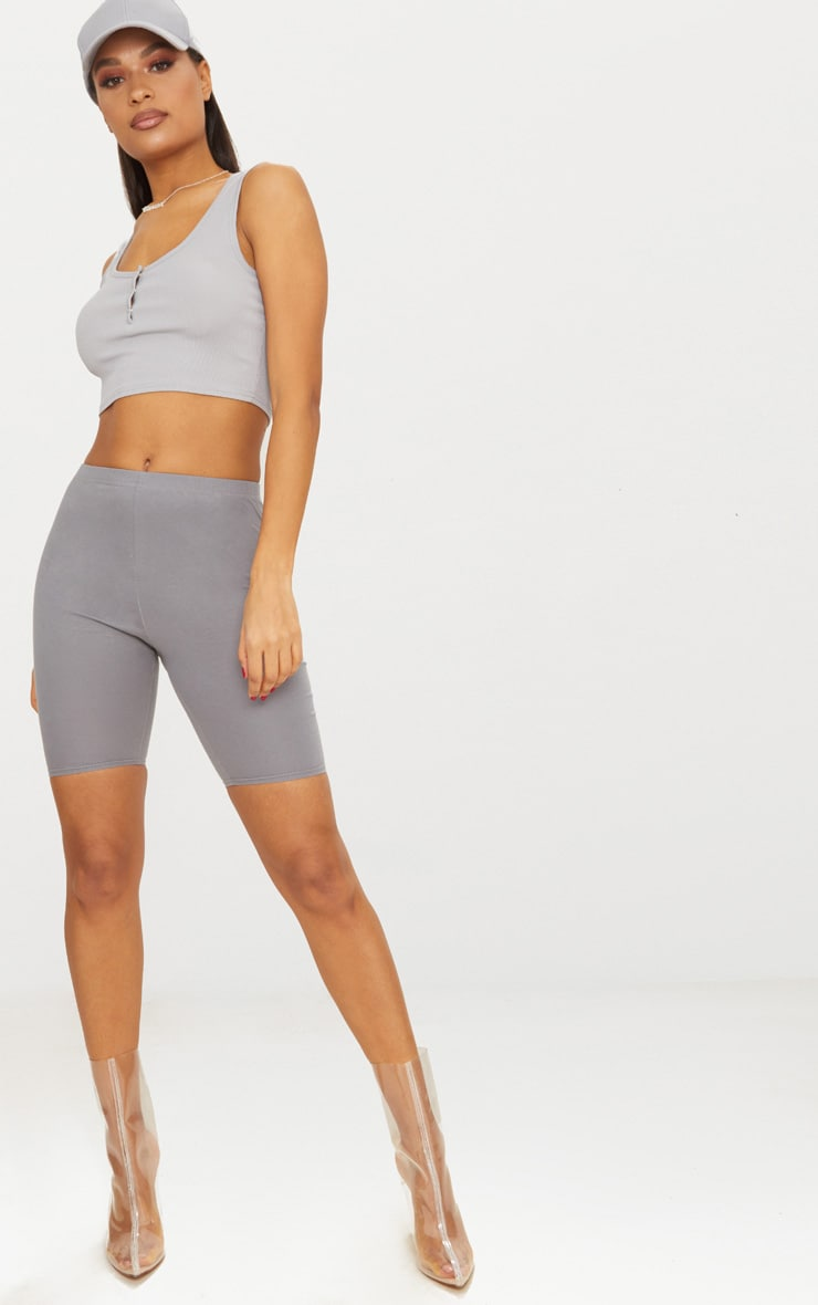 Grey Popper Front Rib Scoop Neck Crop Top 4