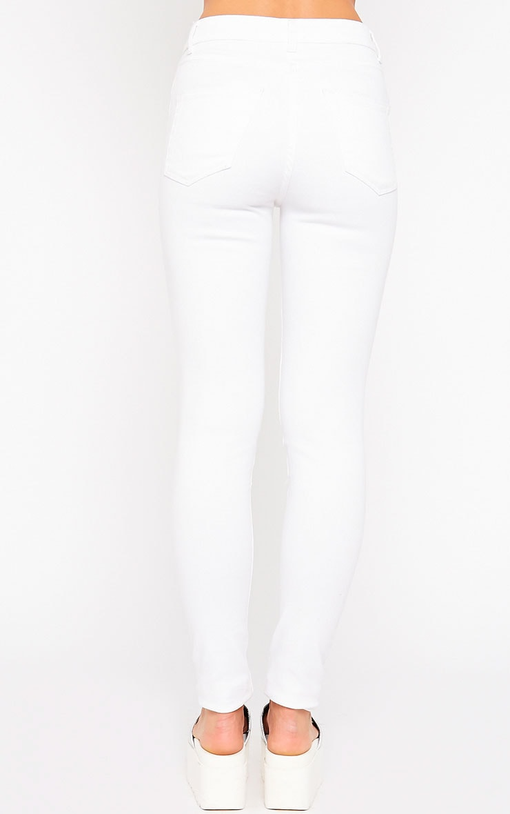 Caisley White Ripped Skinny Jean 4