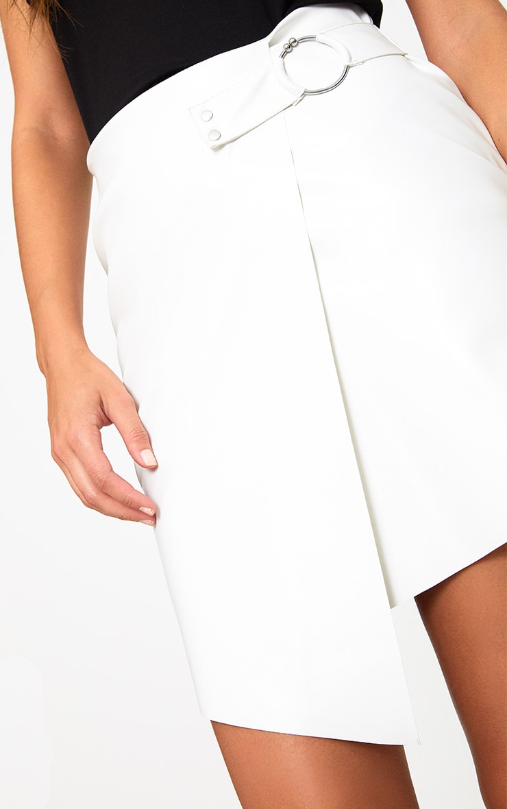 White Faux Leather Ring Belt Mini Skirt 6