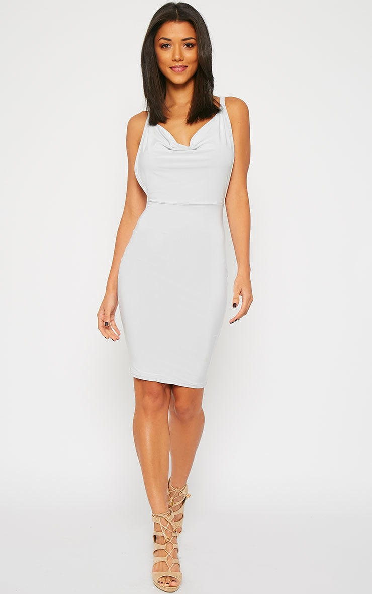 Orion Grey Slinky Cowl Neck Dress 4