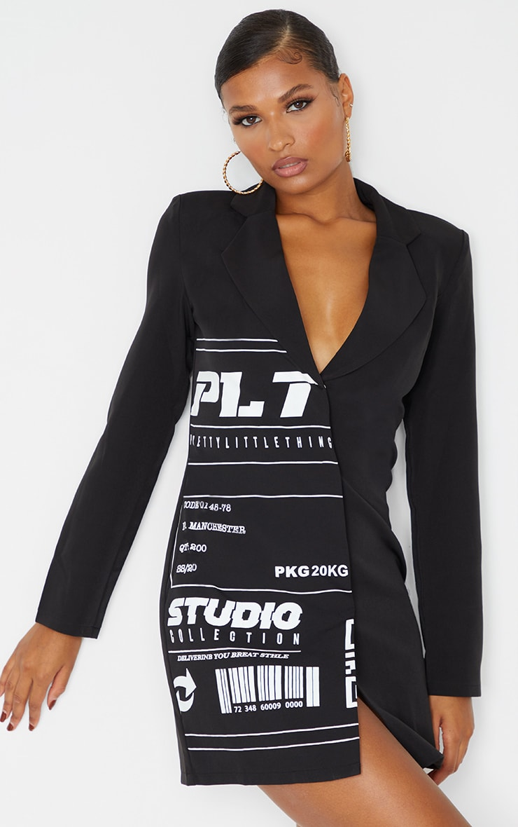PRETTYLITTLETHING Black Slogan Blazer Dress 1