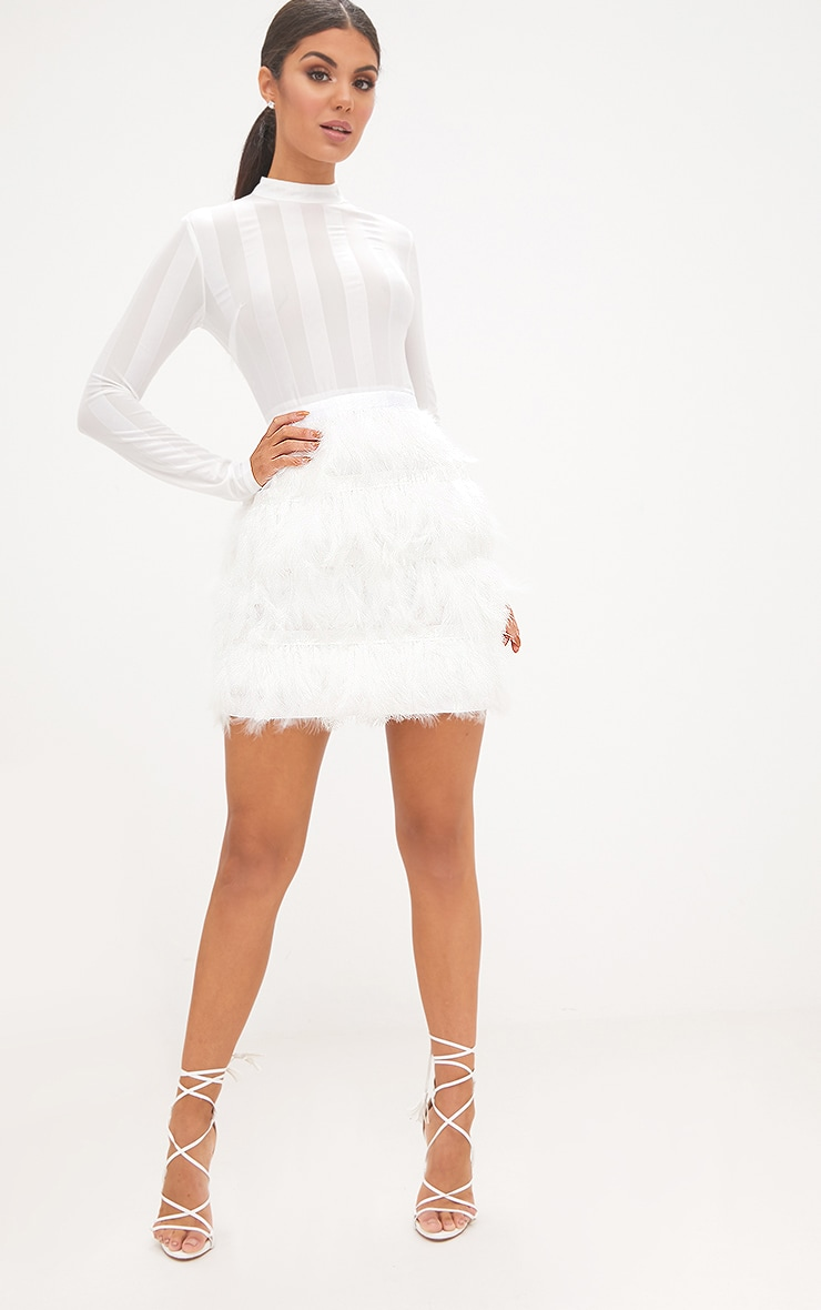 Fawn White Feather Skirt Bodycon Dress 4