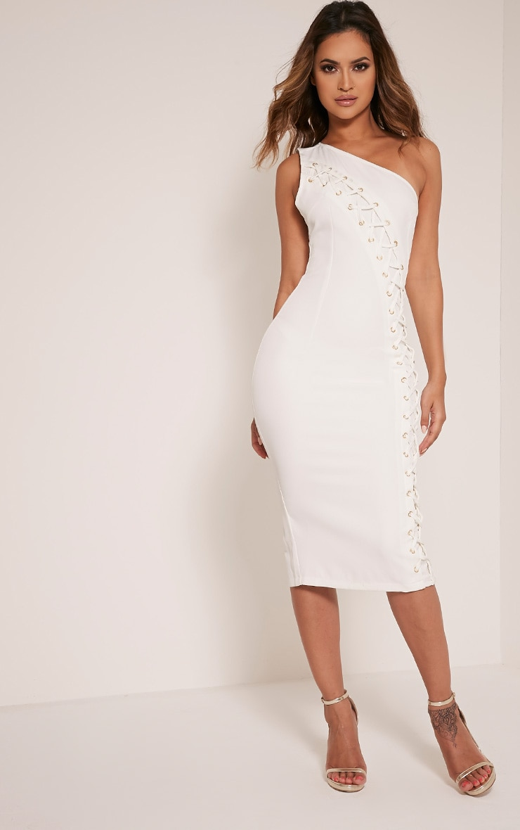 Jayla White Lace Up One Shoulder Midi Dress 1
