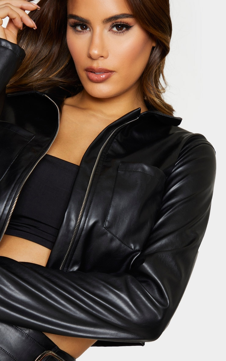 Tall Black Pocket Detail Zip Jacket 4