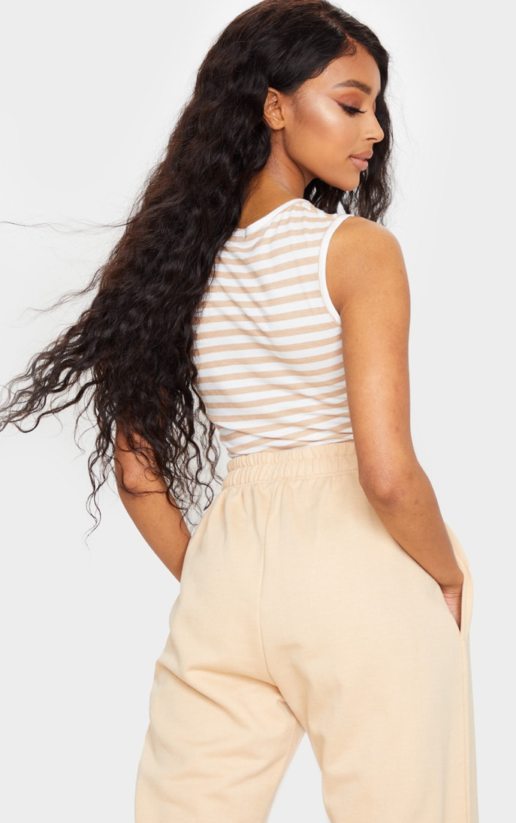 Tan Jersey Stripe Ruched Front Crop Top 2