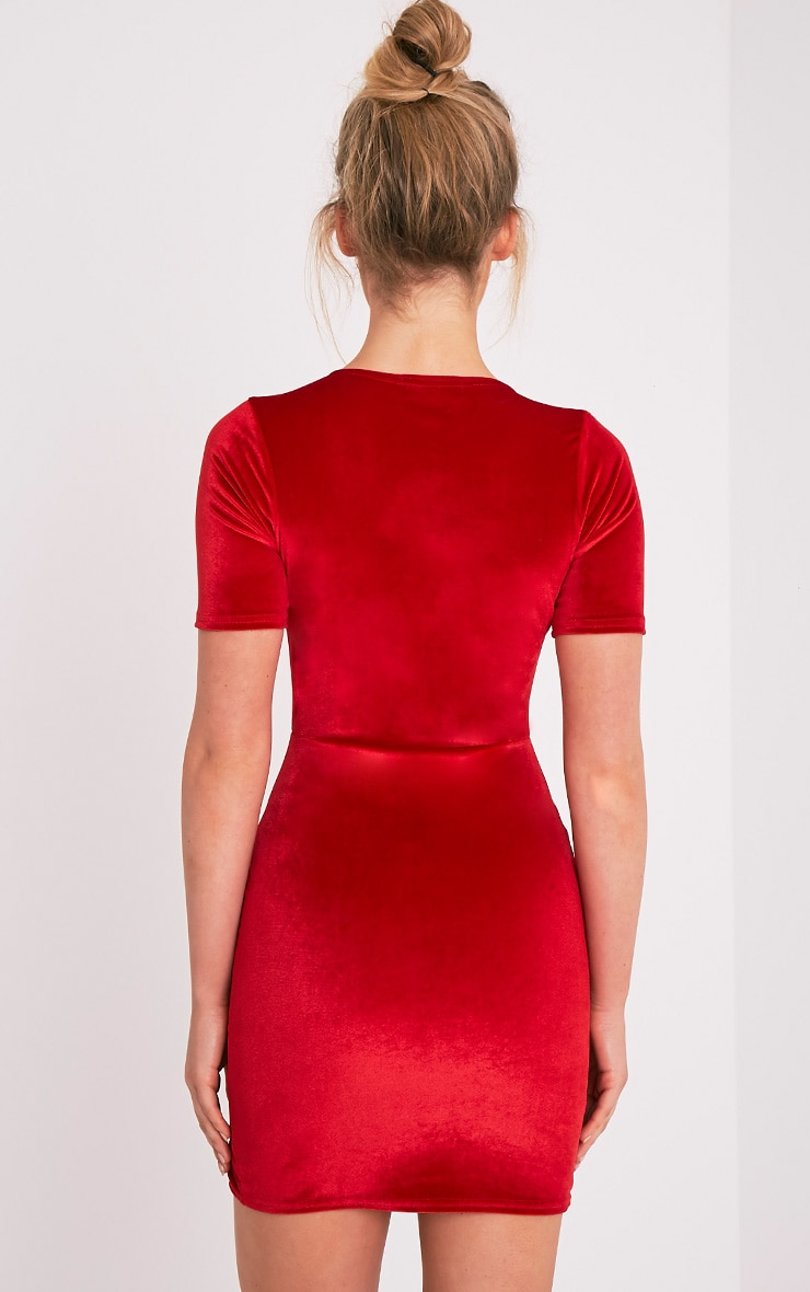 Freyah Red Velvet  Split Detail Bodycon Dress 2
