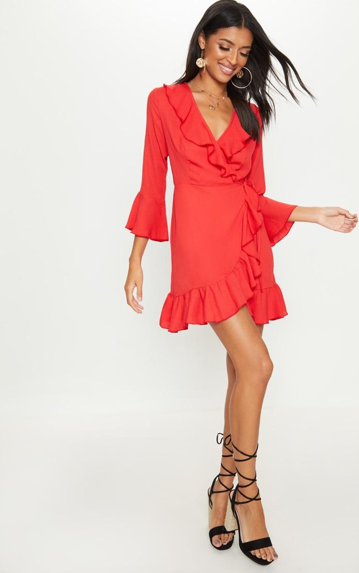 Red Frill Wrap Tea Dress 3