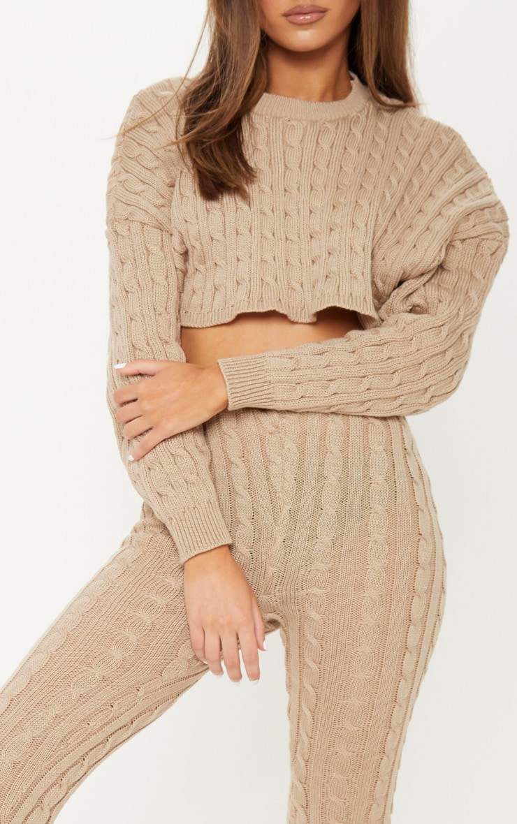 Stone Cable Knit Crop Jumper & Legging Set 5