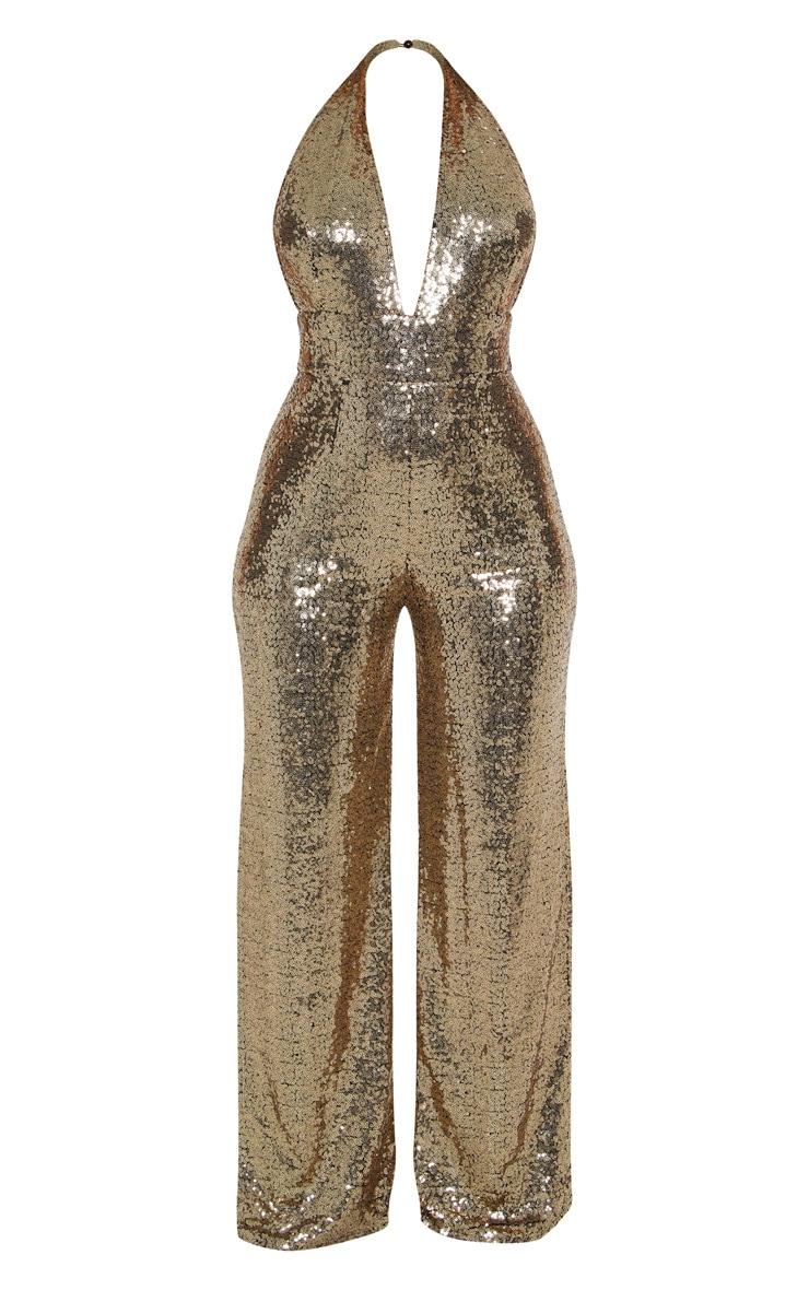 Gold Sequin Halterneck Jumpsuit 3