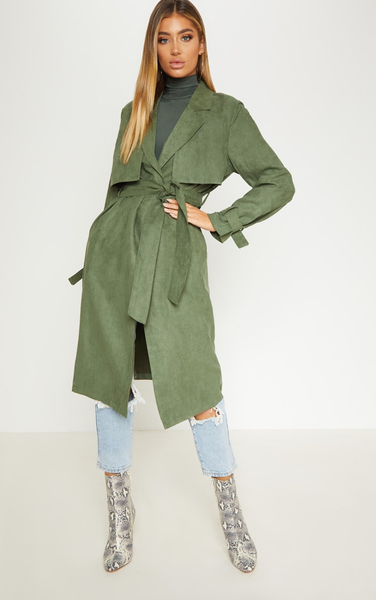 Khaki Faux Suede Trench  3