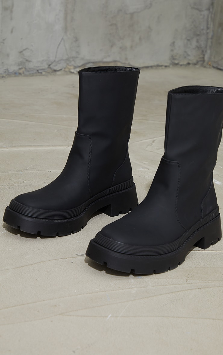 Black Ankle Rubberised Boots 4