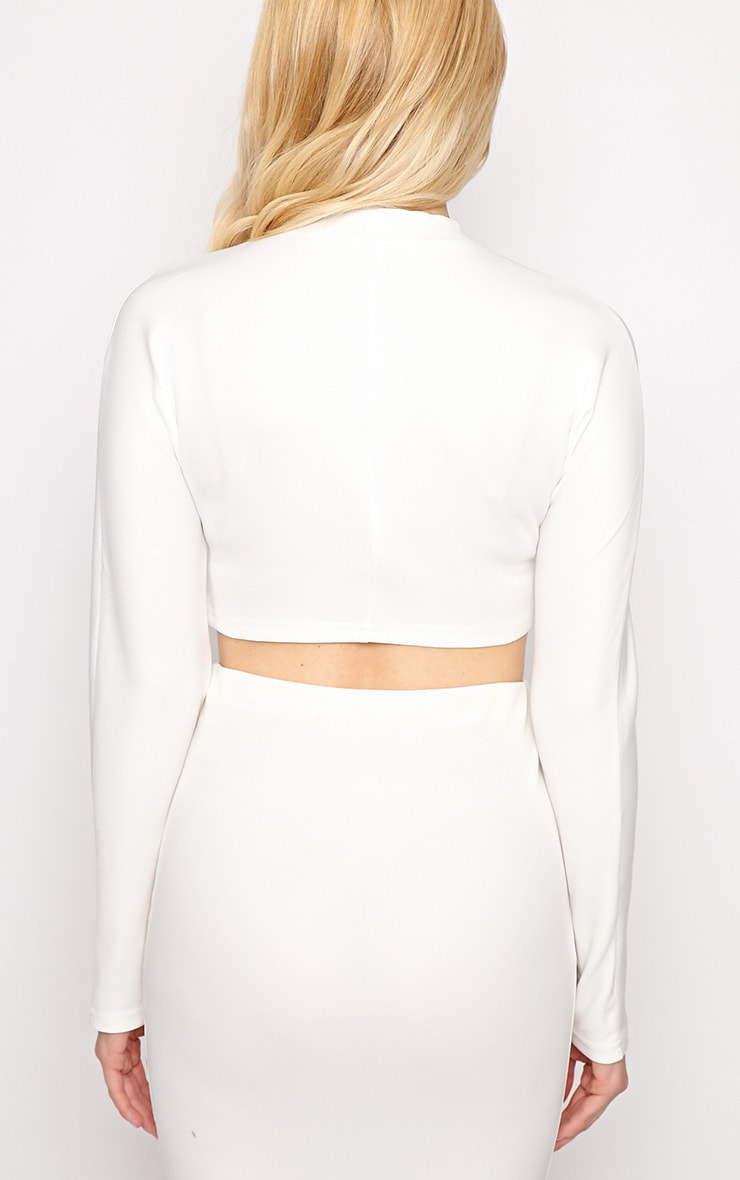 Megan White Turtle Neck Crop Top 2