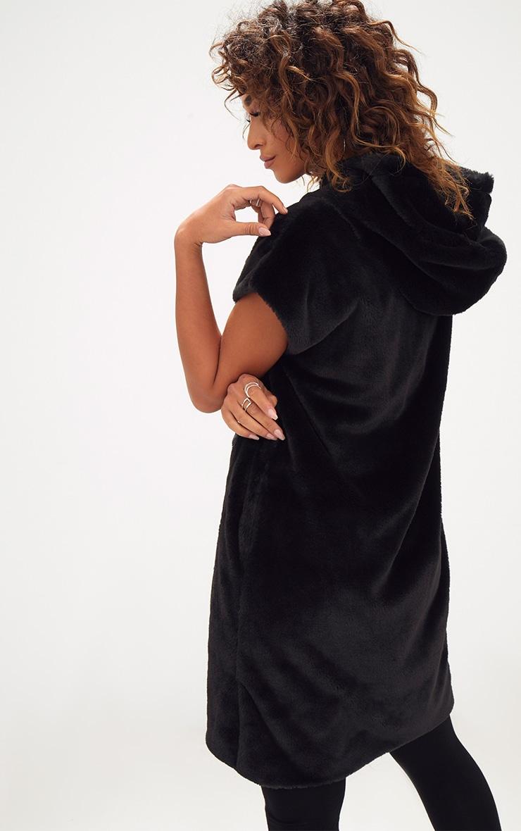 Black Oversized Zip Front Faux Fur Hoodie  2