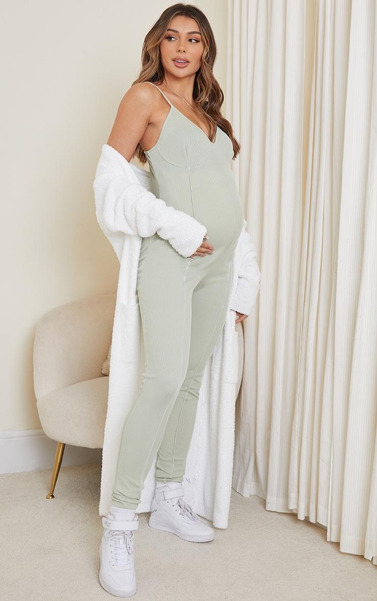 Maternity Sage Green Contrast Rib Jumpsuit 3