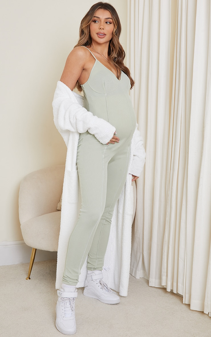 Maternity Sage Green Contrast Rib Jumpsuit image 3