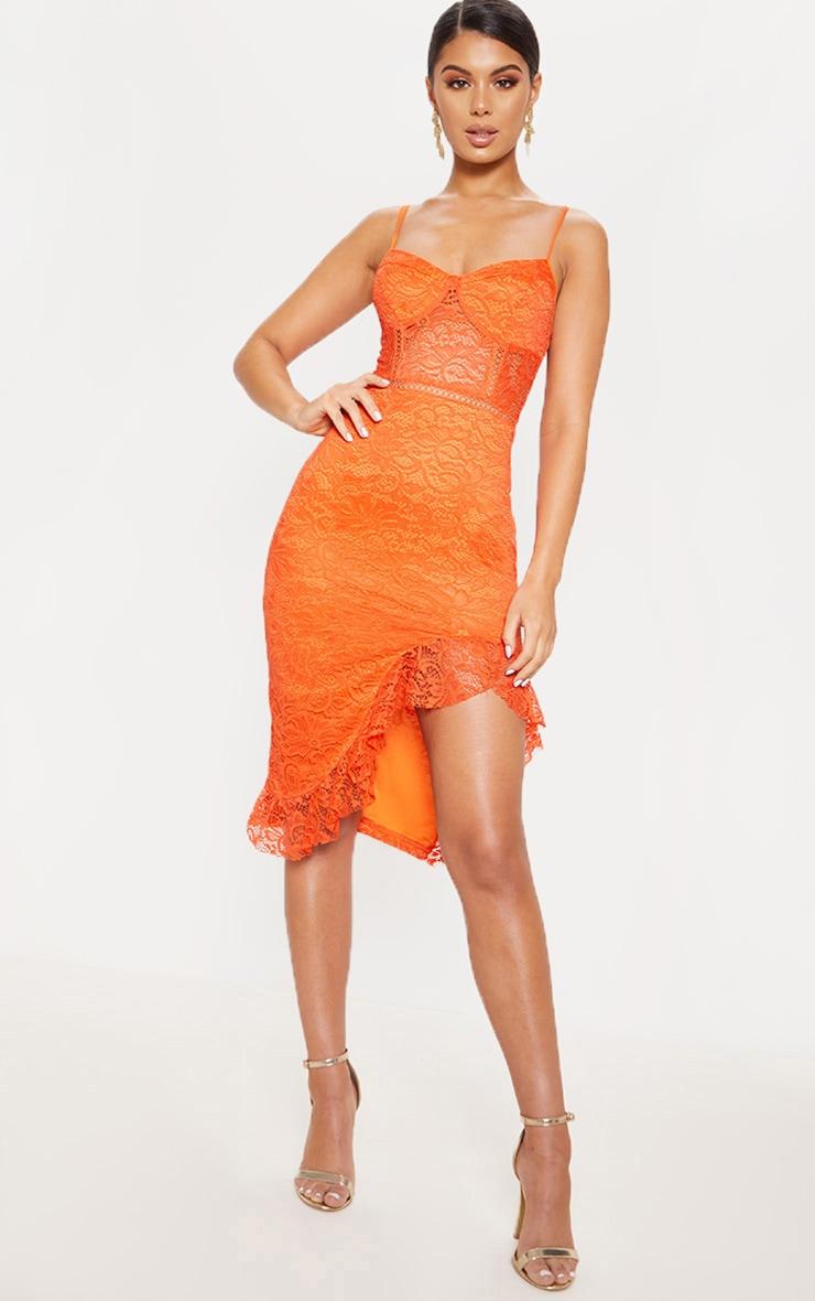 Orange Strappy Lace Frill Hem Midi Dress by Prettylittlething