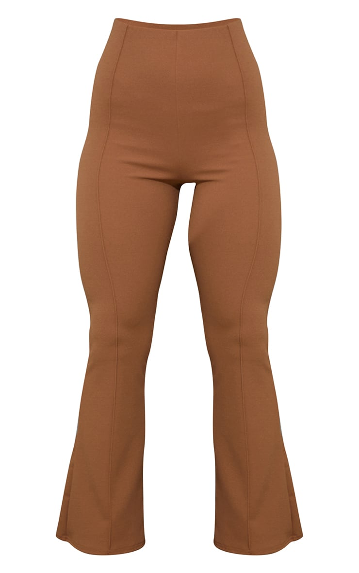 Camel Pintuck Detail Flared Trousers 5