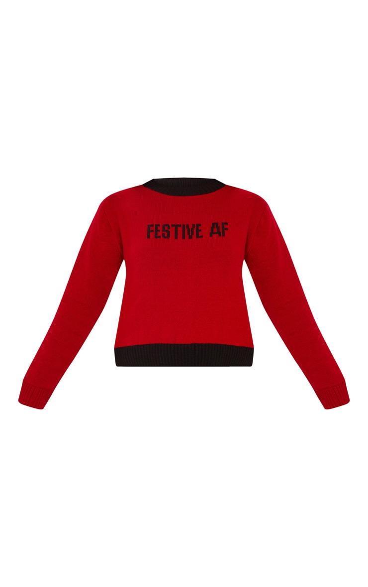 Red Festive AF Slogan Sweater  3