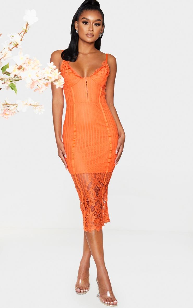 Robe mi-longue à doublure en dentelle orange et agrafes 1