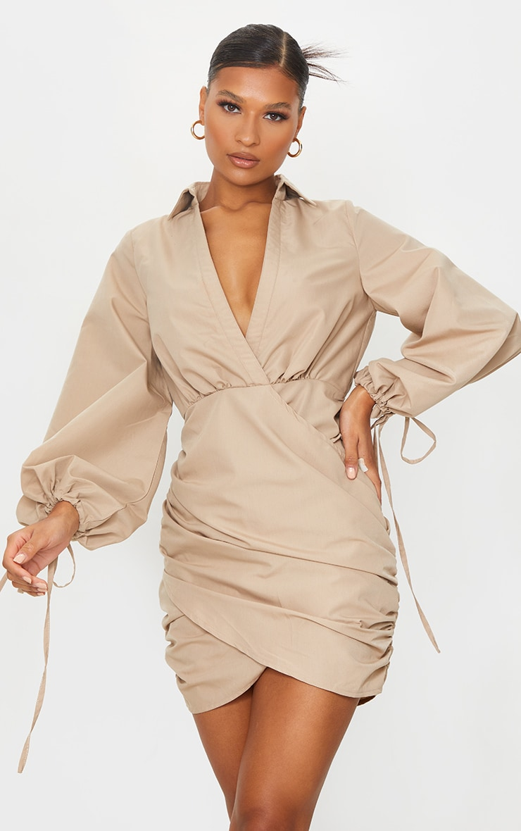 Stone Plunge Ruched Tie Cuff Shirt Bodycon Dress 1