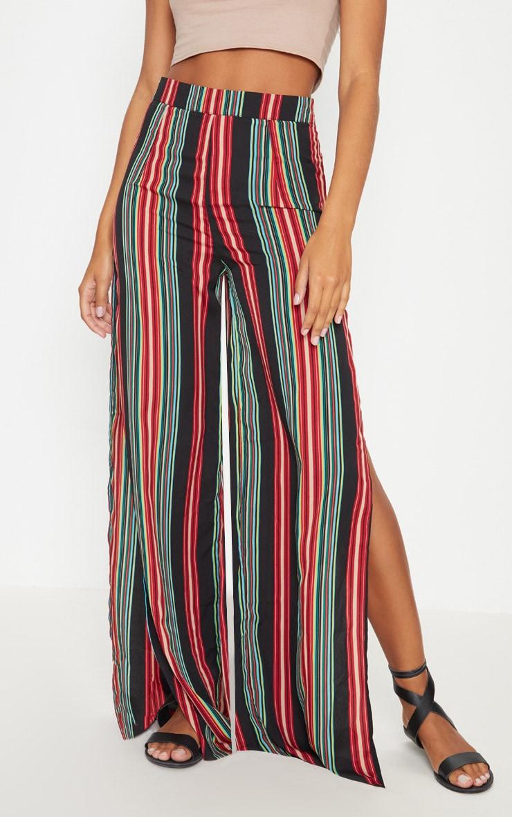 Black Multi Coloured Side Split Wide Leg Trouser 2