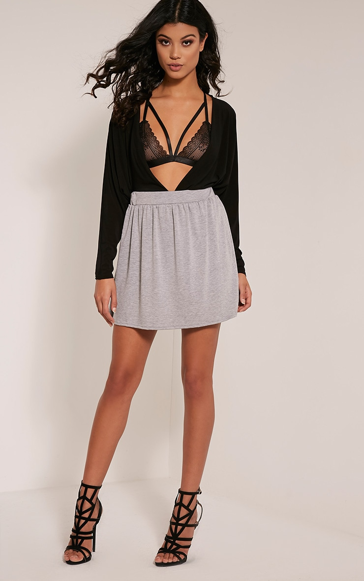 Basic Grey Floaty Jersey Mini Skirt 5