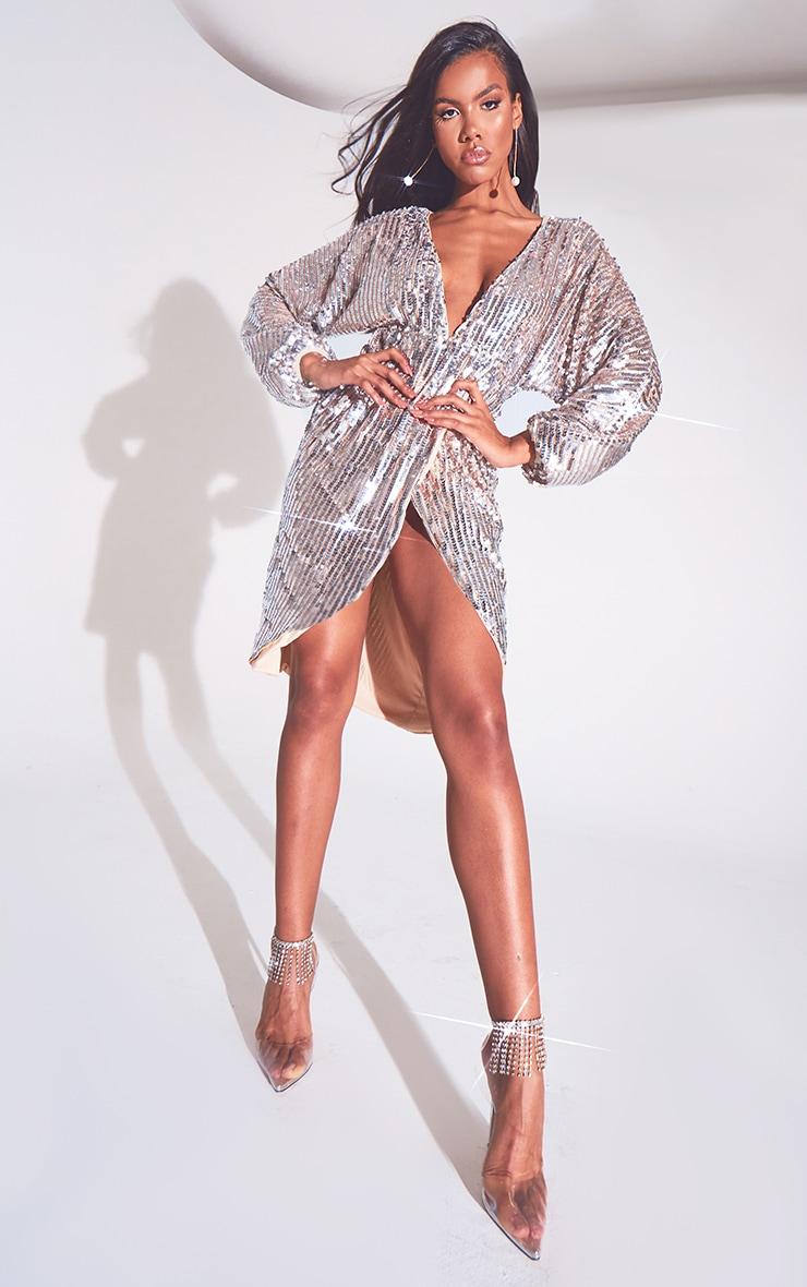 Silver Premium Sequin Kimono Sleeve Wrap Midi Dress 1