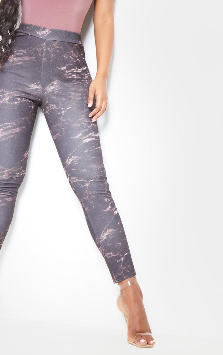 Black Marble Print Skinny Pants 5