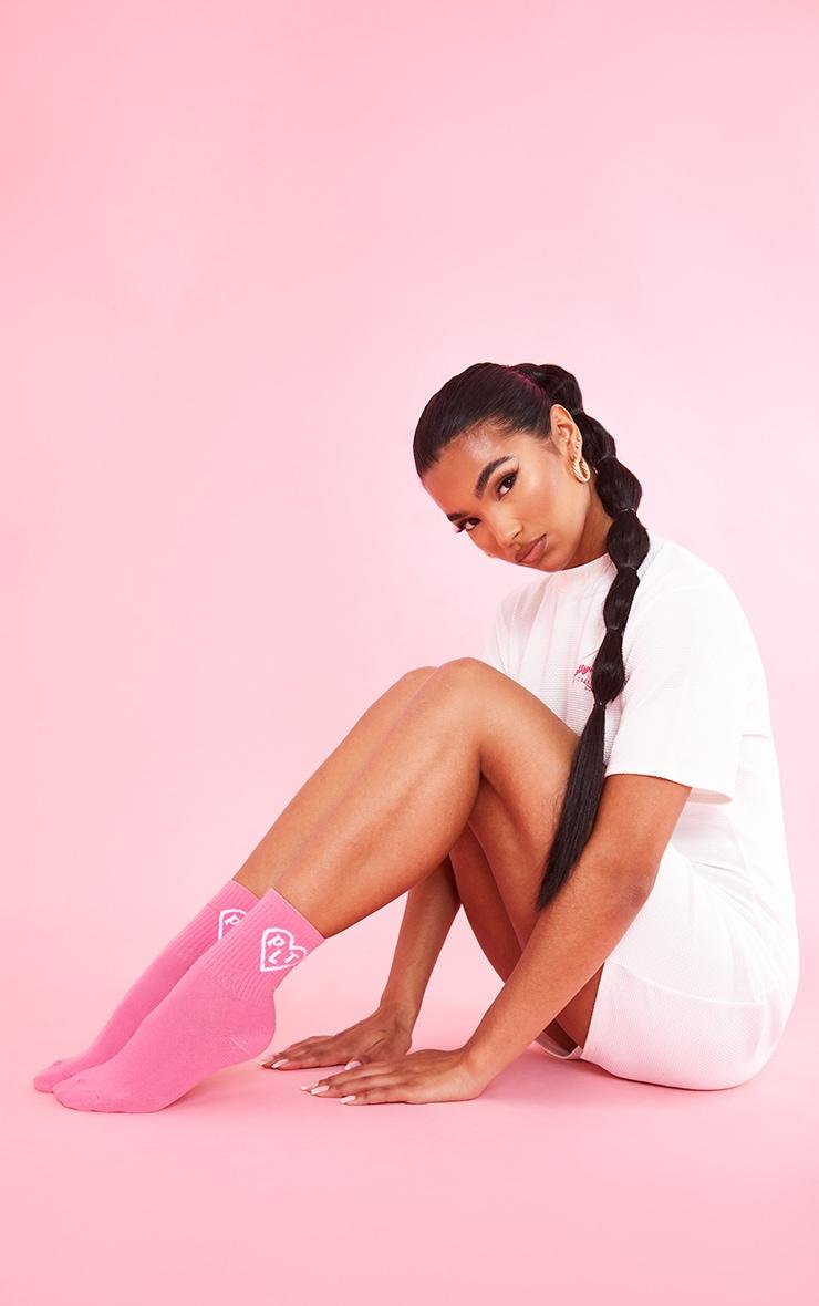PRETTYLITTLETHING Pink Heart Ankle Socks 1