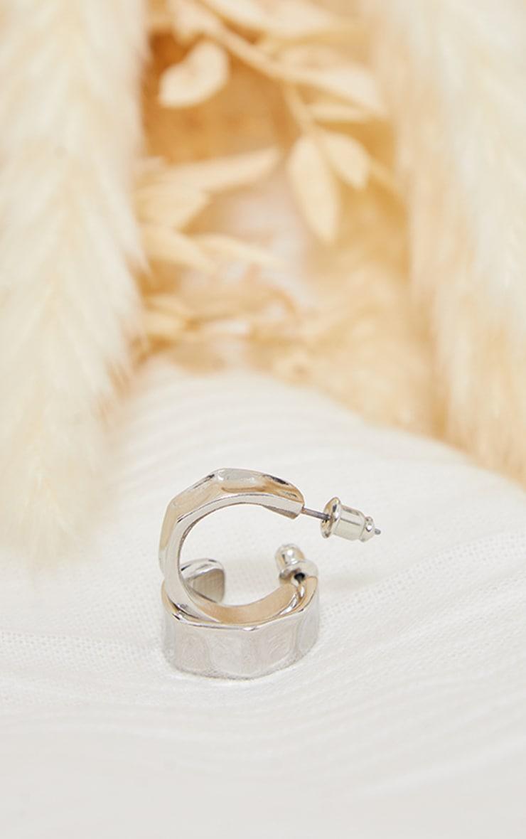 Silver Mini Hammered Texture Hoop Earrings 3