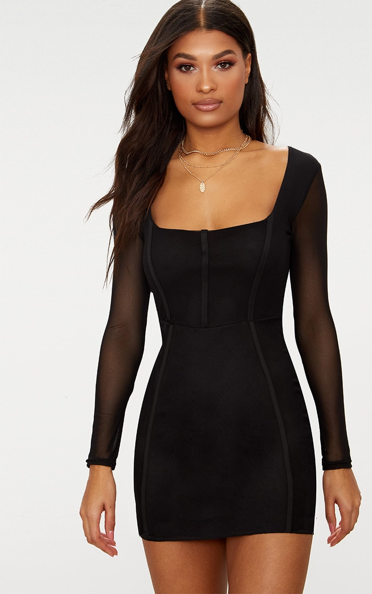 Sheer Mesh Square Neck Binding Detail Bodycon Dress 1